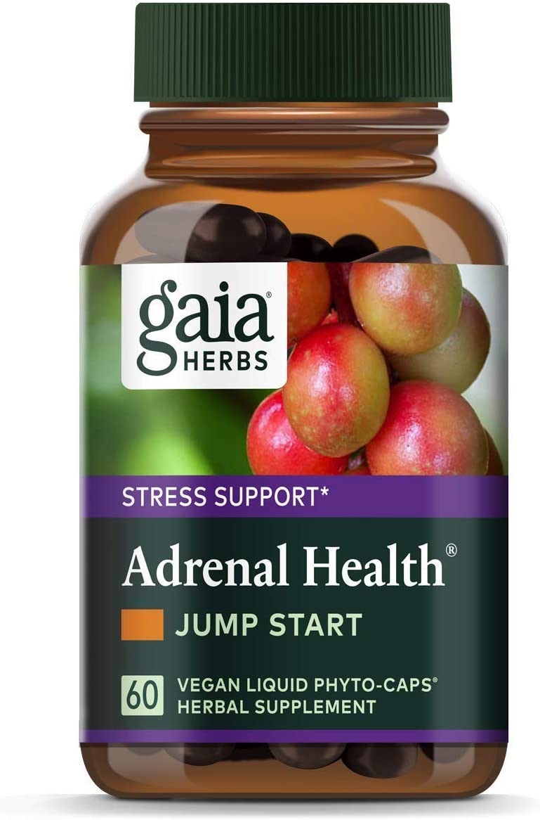 Gaia Herbs Adrenal Health Jump Start, Adrenal Fatigue Supplement for Mood Support and Optimal Energy with Rhodiola, Ginseng, Cordyceps, Vegan Liquid Capsules, 60 Count: Health & Personal Care