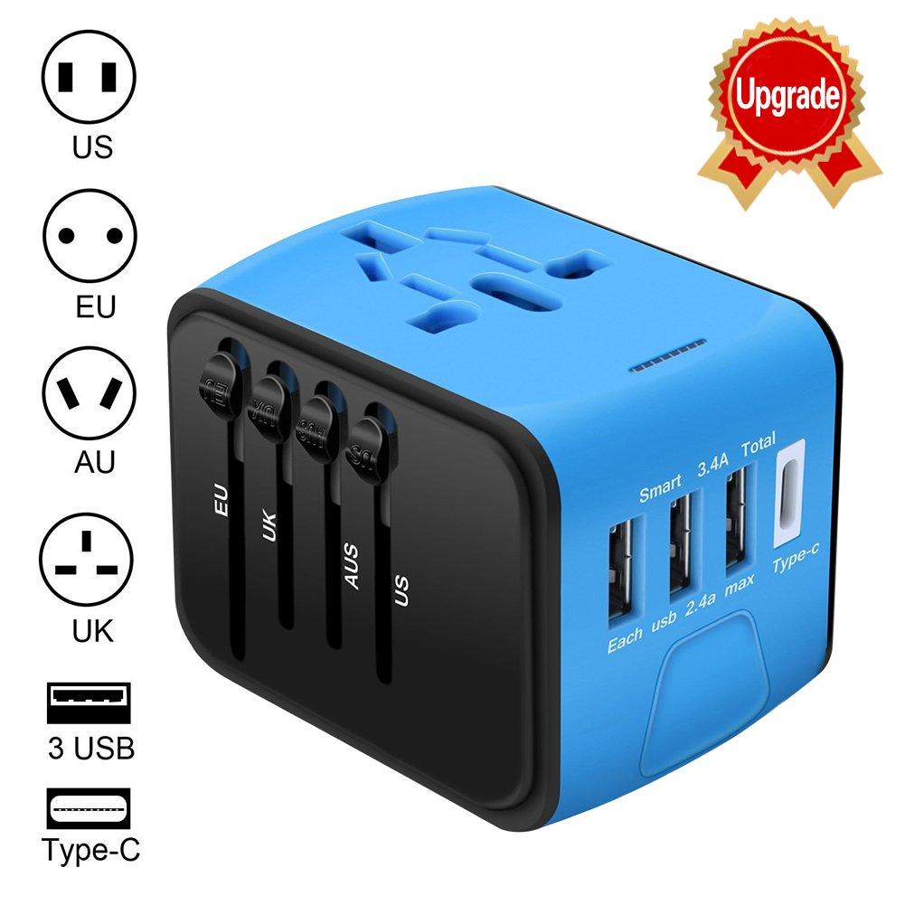 Adaptador Enchufe de Viaje Universal Enchufe Adaptador Internacional con 3 Puertos USB y Tipo C para US EU UK AU acerca de 150 Países para Tableta PC ...