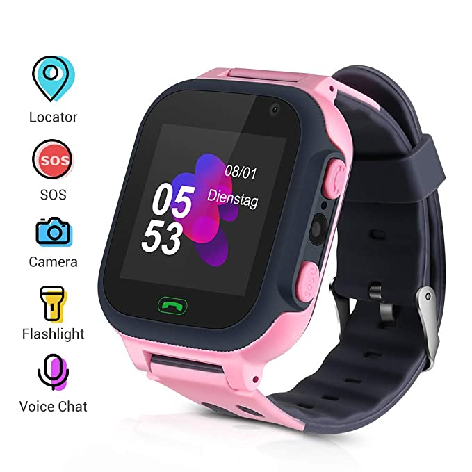 Openuye Niños Smartwatch, Smartwatch Phone con rastreador LBS, SOS, Pantalla táctil LED de 1,44 Pulgadas con cámara, Llamadas SIM, Despertador para ...