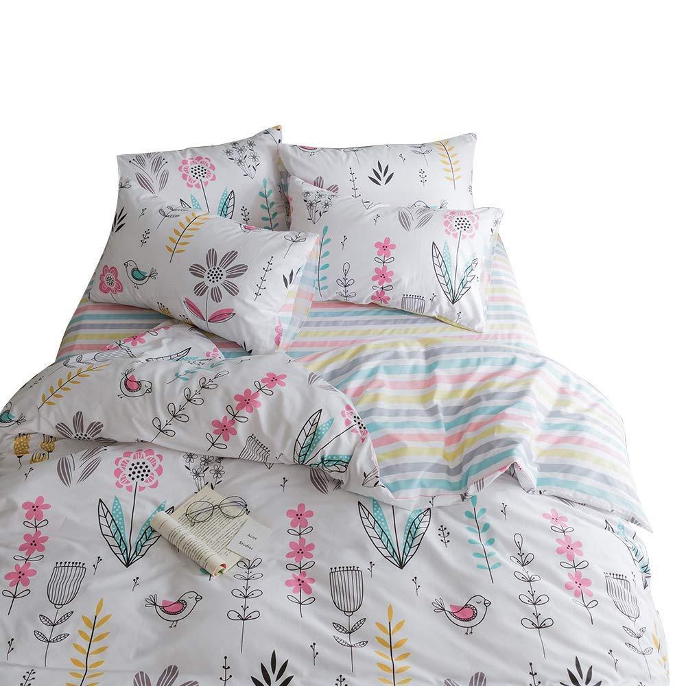 BuLuTu Floral Bird Print Pattern Girls Duvet Covers Queen White Premium Cotton Spring Blossom Colorful Reversible Kids Bedroom Comforter Cover Full Bedding Sets Zipper for Teen Toddler,NO Comforter by BuLuTu