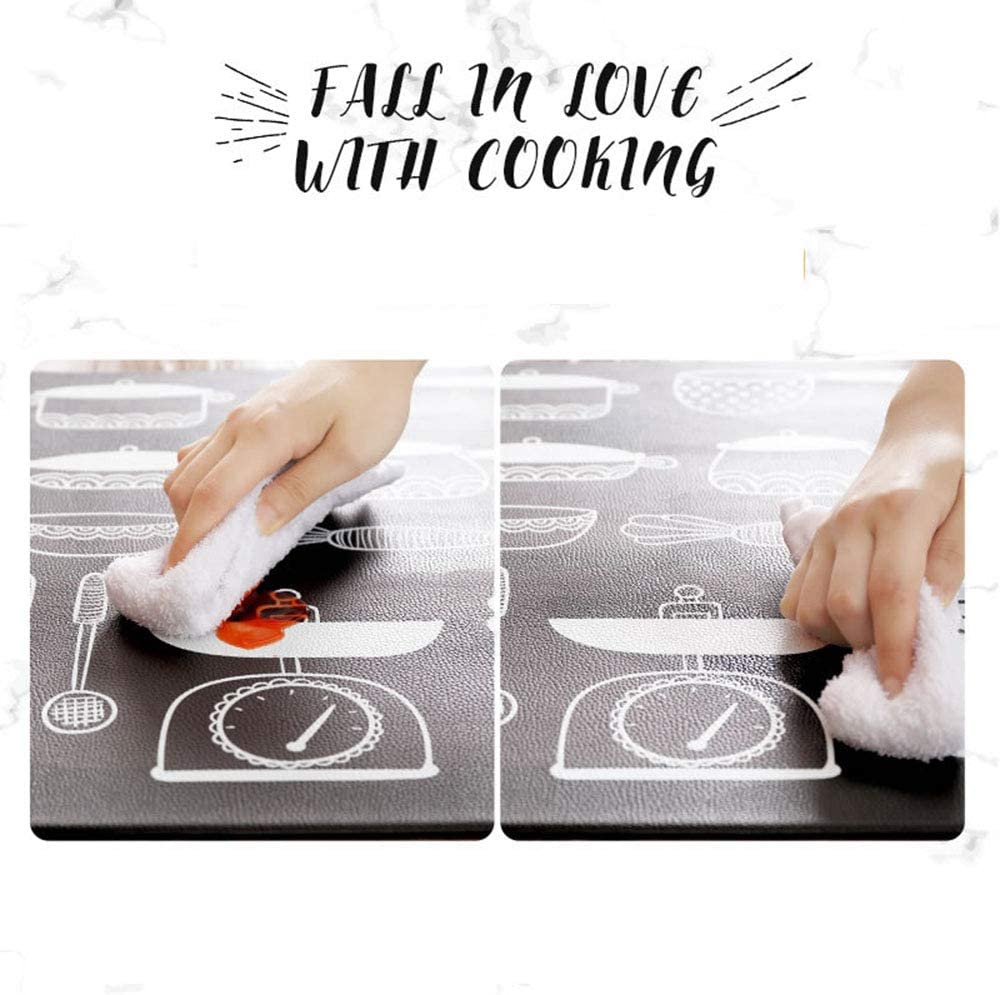 18/×60inch PU leather) Joomke Kitchen Mats Non-slip Waterproof and Non slip fatigue Comfort Kitchen Mats All-Purpose Floor Mats For Kitchen or Workstations (30 /×18 inch