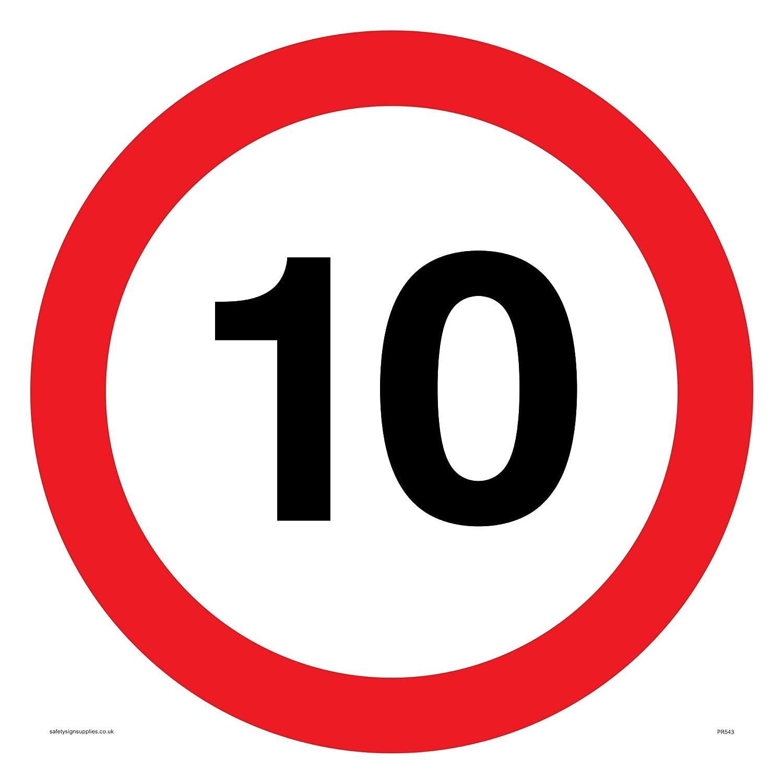 vinilo 400/mm H x 400/mm W Viking signos pr543-s40-v10/mph o 10/km//h velocidad de la carretera s/ímbolo Sign