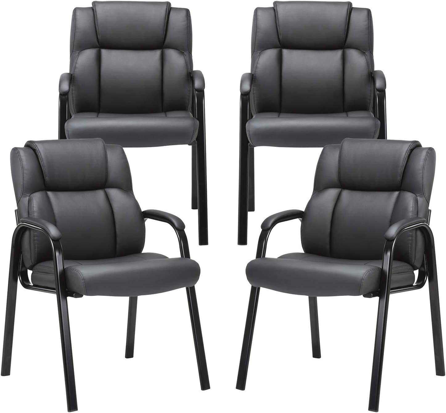 CLATINA Leather Guest Chair with Padded Arm Rest for Reception Meeting  Conference and Waiting Room Side Office Home Black 5 Pack