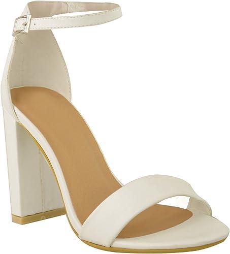 Femmes Bout Ouvert Bride Cheville Sandales Bloc Moyen Talons En Daim Synthétique date Escarpins Chaussures