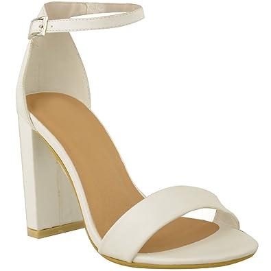Sandales sexy pour femmes bride cheville bout ouvert - BLANC FAUX CUIR, 36 6ab89aa2cff9