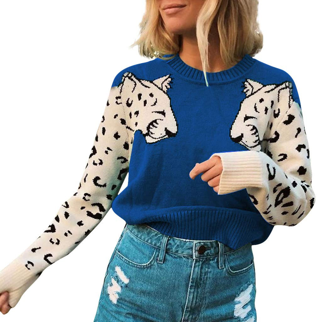 QIUUE Women Animal Printing Color Block Sweaters Tunic O-Neck Long Sleeve Pullover Sweatshirt Loose Cable Knit Sweater Blue by QIUUE