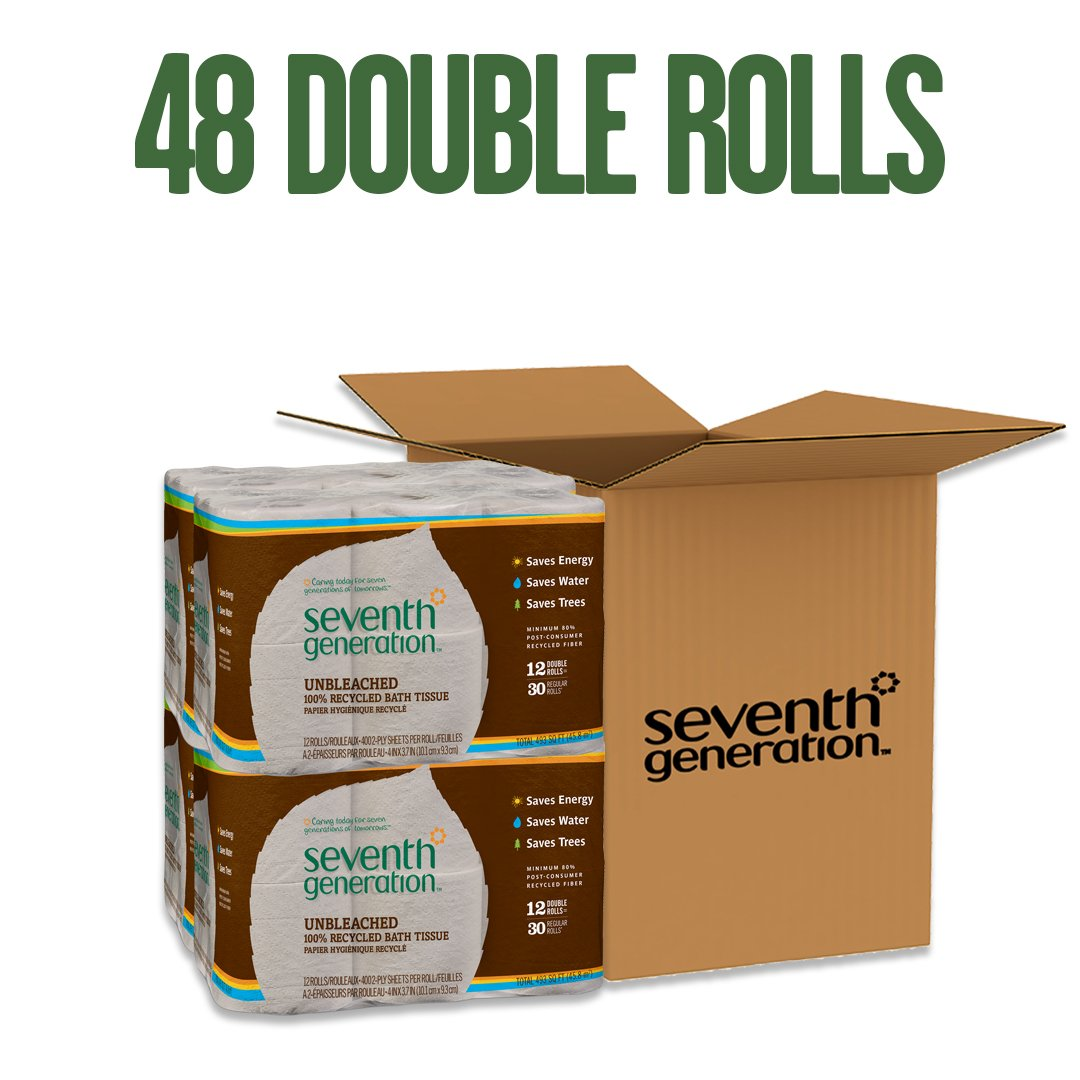 Seventh Generation Unbleached Bathroom Tissue Roll, 12-Count (Pack of 4) by Seventh Generation (Image #1)