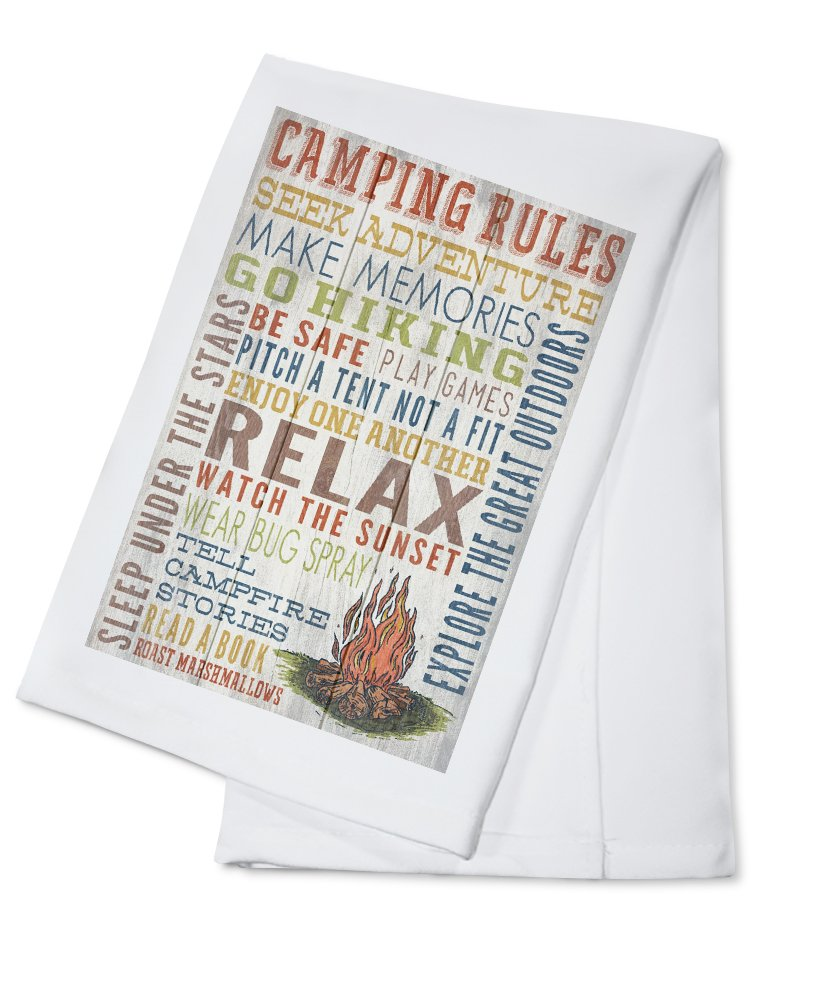 Camping Rules - Rustic Typography (100% Cotton Kitchen Towel)