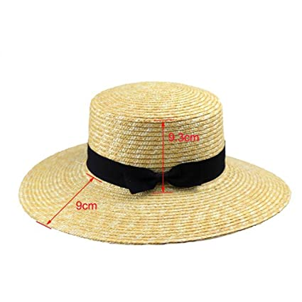 2f368954ead Summer Hats for Women Flat Top Straw Beach Hat Panama Hat Summer for Women Straw  Hat