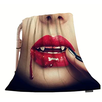 """HGOD DESIGNS Halloween Artthrow Blanket,Sexy Vampire Woman Lips with Blood Soft Warm Decorative Throw Blankets for Adults Kids Women Men Girls Boys,40""""X50"""" Didadi: Home & Kitchen"""