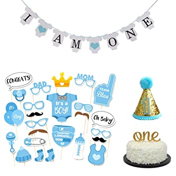 Amazon Com 36 Pcs Baby Boy First Birthday Cake Topper I Am One