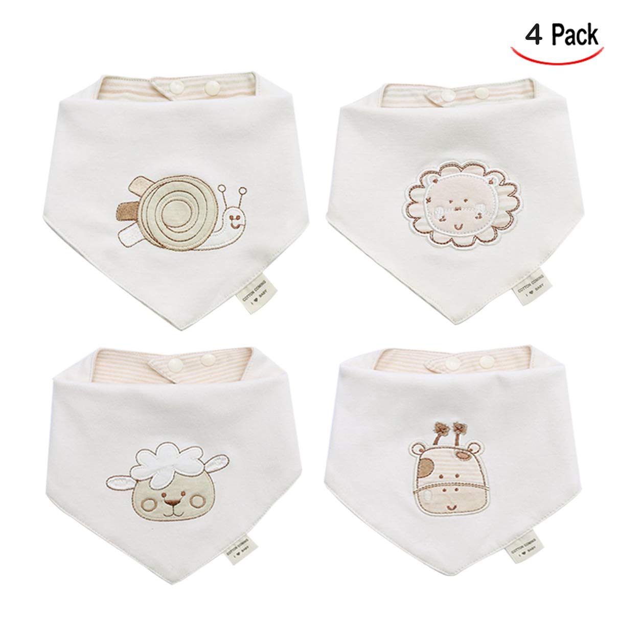 Infants and Toddlers iwobi 4 Pcs Baby Bandana Bibs for Girls Boys Unisex Set Cotton Drool Bibs for Newborns