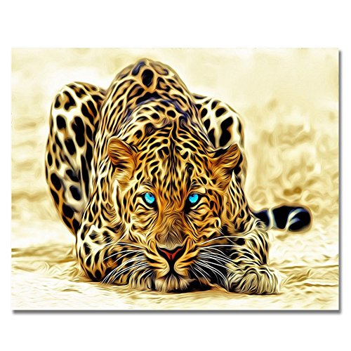 BOSHUN Paint by Numbers Kits with Brushes and Acrylic Pigment DIY Canvas Painting for Adults Beginner- Leopard 16 x 20 inch(Without Frame) (Leopard Acrylic)