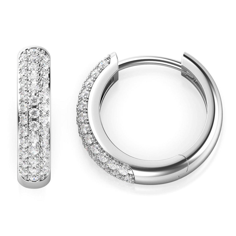 925 Sterling Silver Pave Set CZ Cubic Zirconia Huggie Hoop Earrings Metal Factory MF00227