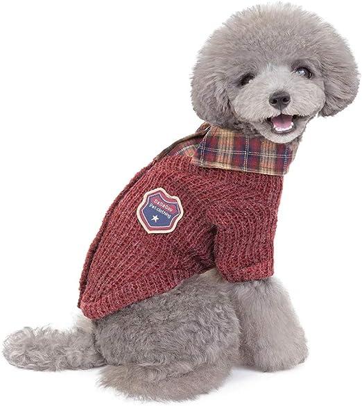 ZDJR Suéter de Punto para Mascotas, Cuello de la Camisa Caliente del Invierno del Perro Camiseta de Perro Ropa Gatito del Perrito del suéter,Rojo,L: Amazon.es: Hogar
