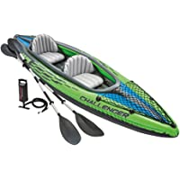 Intex Challenger K2 2-Person Inflatable Kayak Set with Aluminum Oars and High Output Air Pump