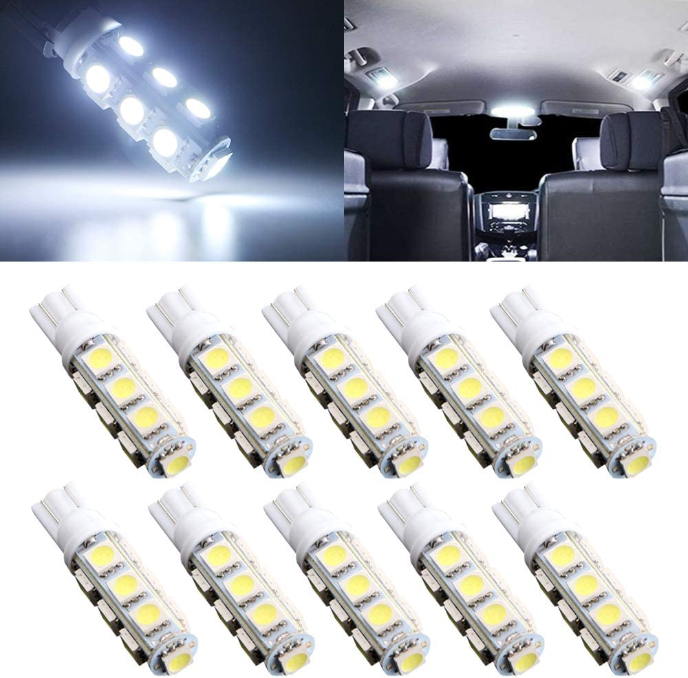 194 T10 168 2825 W5W 175 158 Bulb 5050 5 SMD LED Light for Map Dome Courtesy License Plate Dashboard Side Marker Light White Replacement Stock # 10pcs//pack