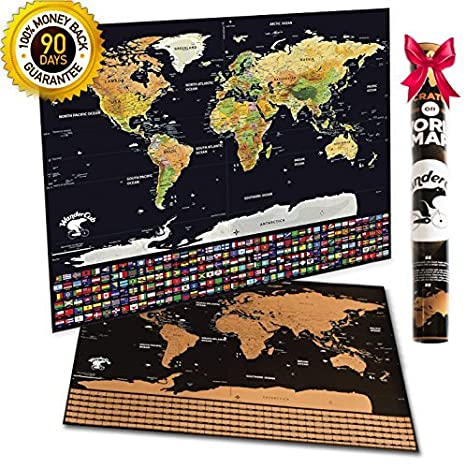 Amazon scratch off world map travel map scratch off poster scratch off world map travel map scratch off poster us states 252 flags gumiabroncs Choice Image