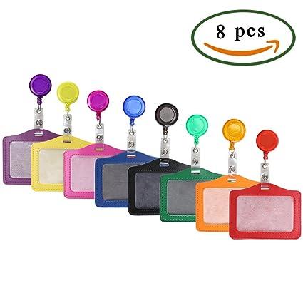 Pulluo 8pcs Portatarjetas de identificación de plásticos multicolor colgantes de tarjetas de identificación con hebilla retráctil para tarjetas y ...