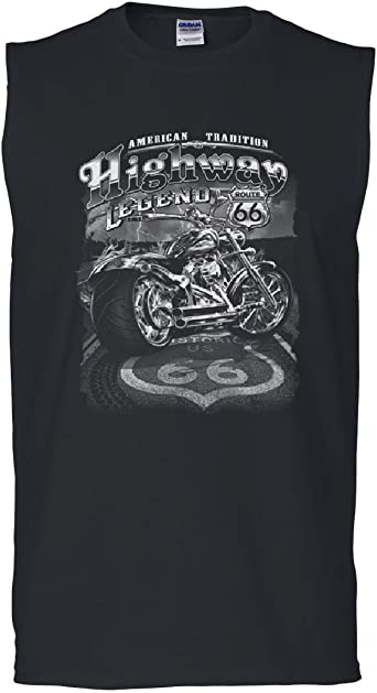 Tee Hunt Route 66 American Tradition Tank Top Biker Motorcycle Muscle Shirt