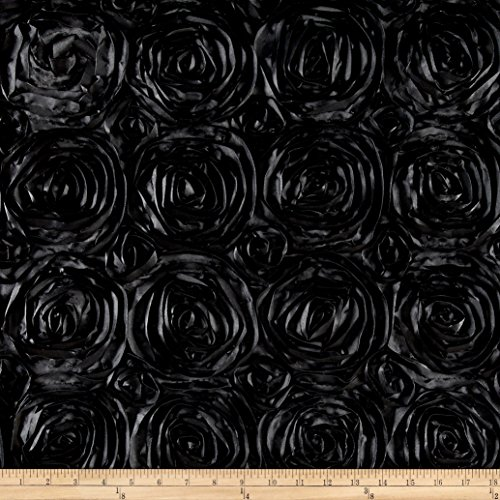 Wedding Rosette Satin Black Fabric By The Yard