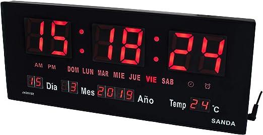 Sanda SD-0015 Reloj Digital de Pared y Mesa Led Color Rojo ...