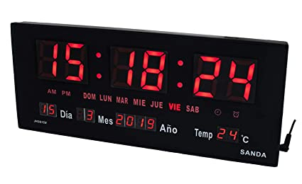 Sanda SD-0015 Reloj Digital de Pared y Mesa Led Color Rojo Calendario Termometro Alarma Despertador Clock Hora Fuente de Alimentacion