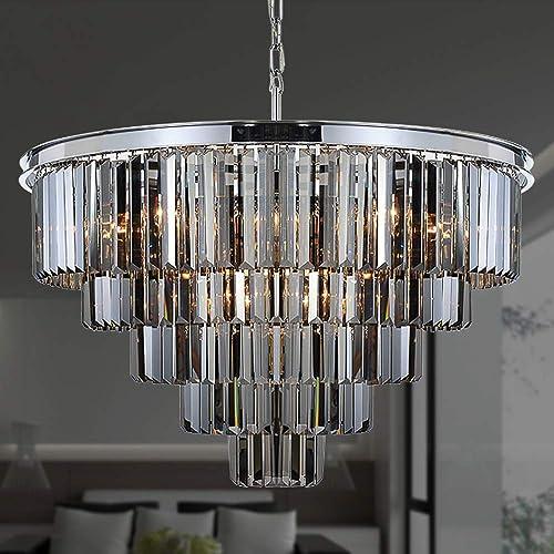 MEELIGHTING W31.5'' 16Lights Smoke Crystal Chandelier Modern Chandeliers Lighting Pendant Ceiling Light Fixture 5-Tier