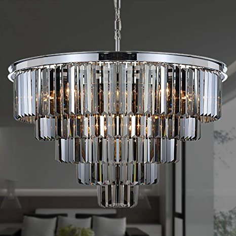 MEELIGHTING W31.5\'\' 16Lights Smoke Crystal Chandelier Modern Chandeliers  Lighting Pendant Ceiling Light Fixture 5-Tier for Dining Room Living Room  ...