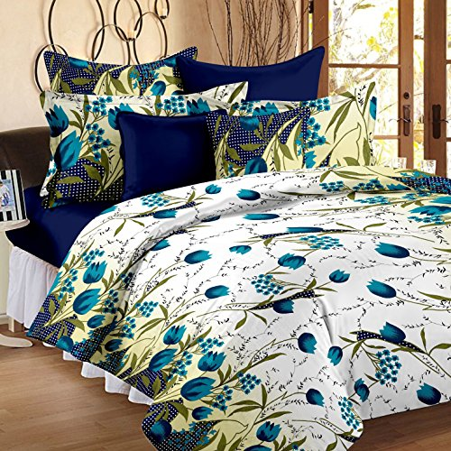 Story@Home 100% Cotton Floral 152 TC Magic Double Bedsheets with 2 Pillow Covers