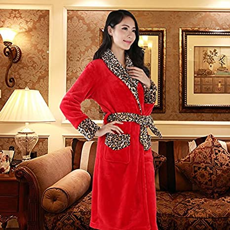 WSLOVEHHY Las parejas casadas Coral suave Housecoat Albornoz bata estilo cálido invierno ,L, hembra de leopardo rojo: Amazon.es: Hogar