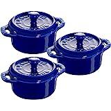 STAUB Ceramics Mini Round Cocotte Set, 3-piece, Dark Blue