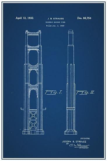 Marvelous Golden Gate Bridge Highway Pier Official Patent Blueprint Poster 12x18