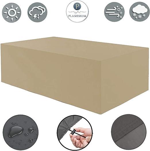 Planesium Premium - Funda protectora para muebles de jardín (impermeable, transpirable, 575 g/metro lineal, 300 x 220 x 90 cm), color beige: Amazon.es: Jardín