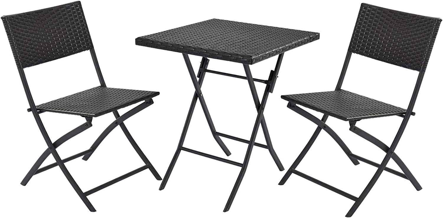DECMICO 3-Piece Rattan Folding Bistro Chair Set Handwoven Small Balcony Patio Furniture with Square Table Lightweight and No Assembly Required for Garden Porch, Dark Brown