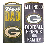 Green Bay Packers sports wall decor 2 piece set. Includes Best Dad and Friends/Family wall plaques. Great for father's day gift.