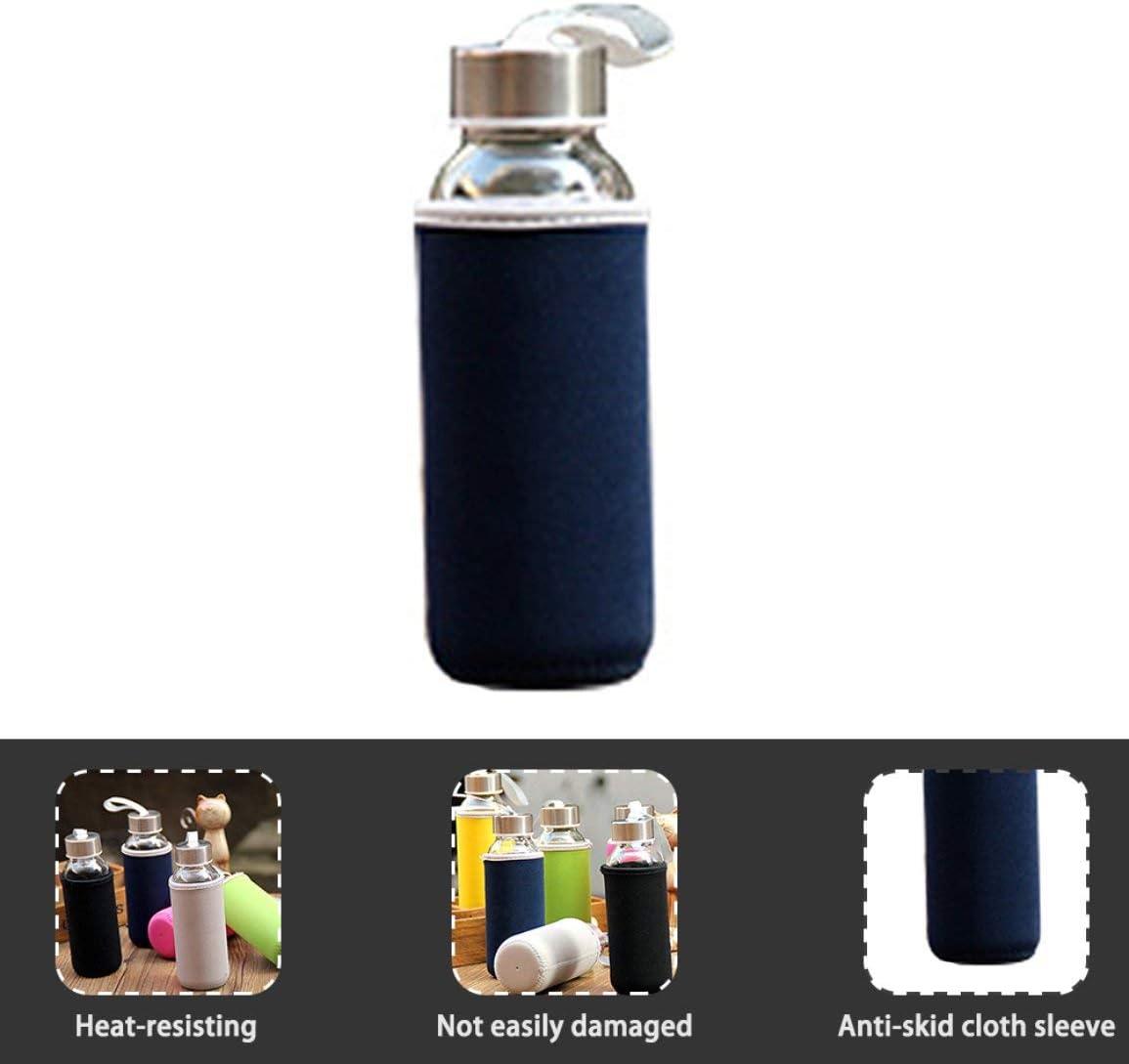 Garciasia Botella de Vidrio de 300 ml Botella de Agua de Vidrio de borosilicato con Bolsa de Tela Bolsa de Bebida de Viaje portátil (Color: Azul Oscuro)