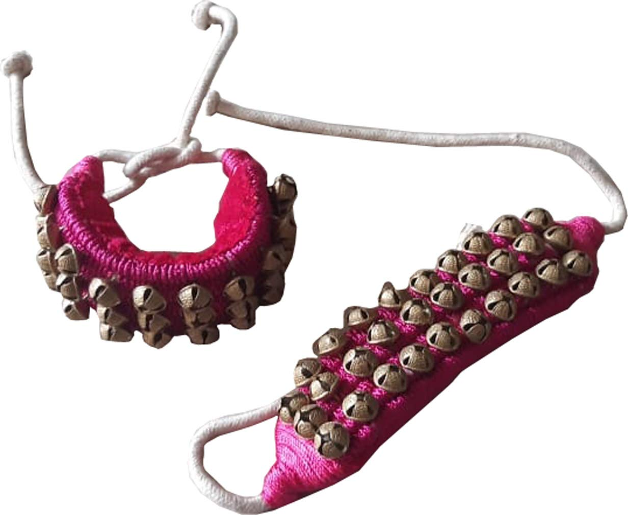 KVR Kathak Bharatnatayam indian traditional dance anklets brass bells ghungharoo pair for comfortable performance (3 row of bell, Fusia) by KVR