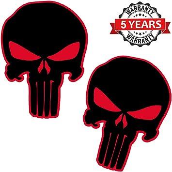 Biomar Labs® 2 pcs Pegatinas Punisher Calavera Vinilo Adhesivo Autos Coches Motos Ciclomotores Bicicletas Ordenador Portátil B 19: Amazon.es: Coche y moto