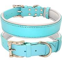 Halsband, lederen collares grote halsbanden solide verstelbare gevoerde puppy kraag voor kleine medium grote hond blauw…