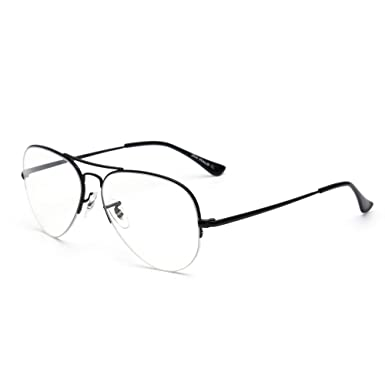 d0c40913007 Blue Light Blocking Computer Glasses Retro Rimless Video Eyeglasses Reduce Eye  Strain Anti Glare Clear Lens Men Women Black  Amazon.co.uk  Clothing