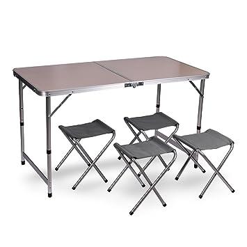 Mesa plegable de jardín y camping sin agujero para sombrilla + 4 sillas