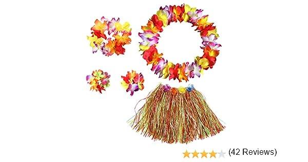BigLion Guirnalda Hawaiana Falda de Hierba con Flores Hula Lei Kit ...