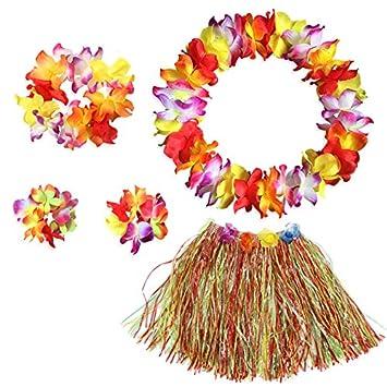 BigLion Guirnalda Hawaiana Falda de Hierba con Flores Hula Lei Kit Falda de Hierba Elásticas y Flores Pulseras Diadema Collar para Luau Verano Playa ...