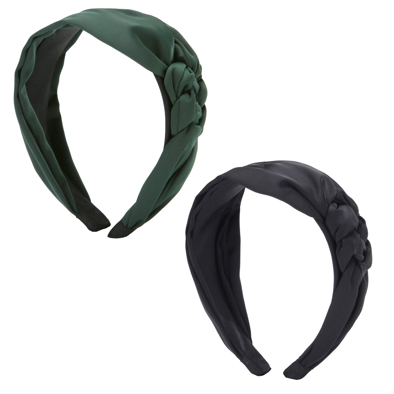 Mode und einfach f/ür Frauen und M/ädchen Folora 2pcs 90er Jahre Seide einseitig geflochtener Knoten Vintage Style Stirnband