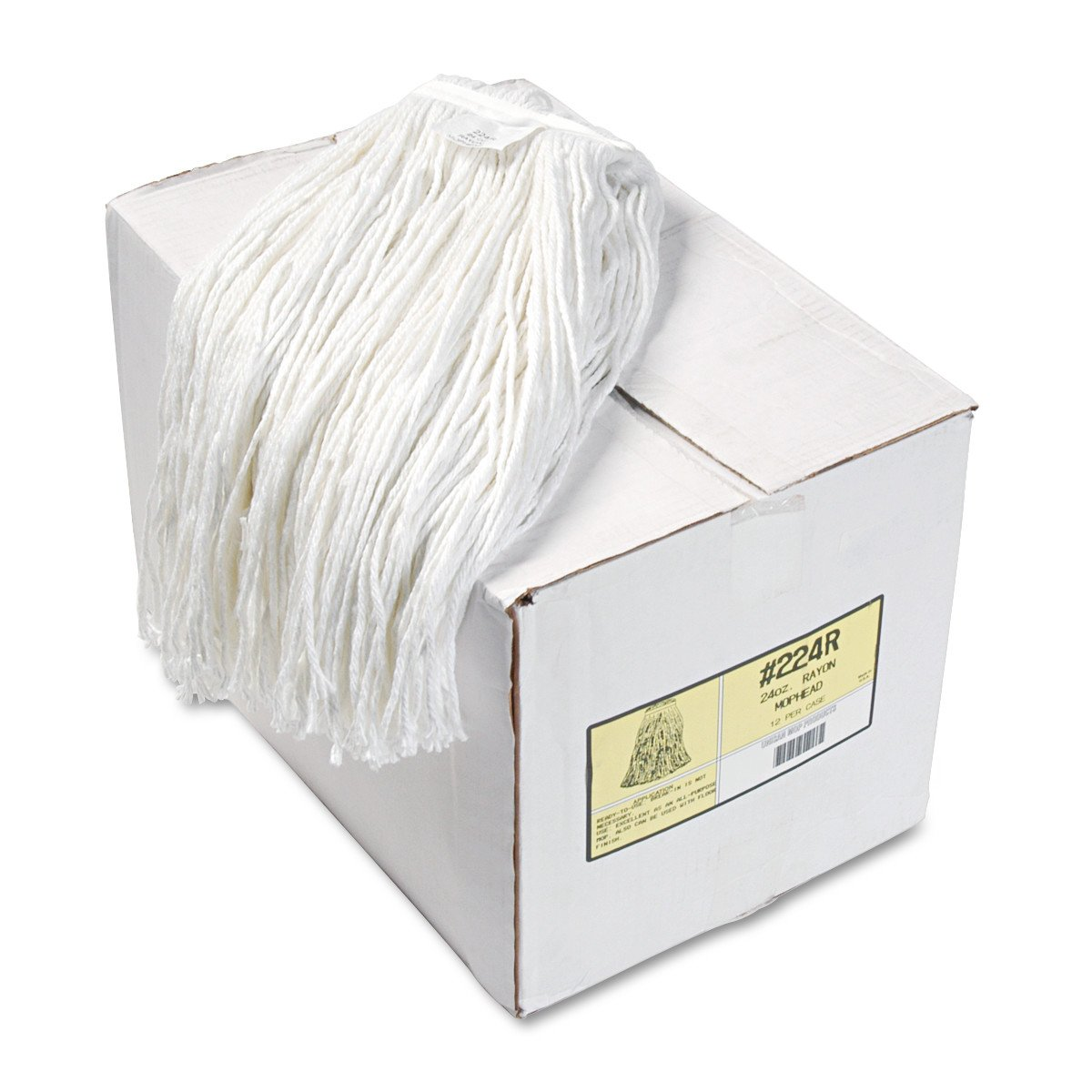 Boardwalk 224RCT Premium Cut-End Wet Mop Heads, Rayon, 24oz, White (Case of 12)