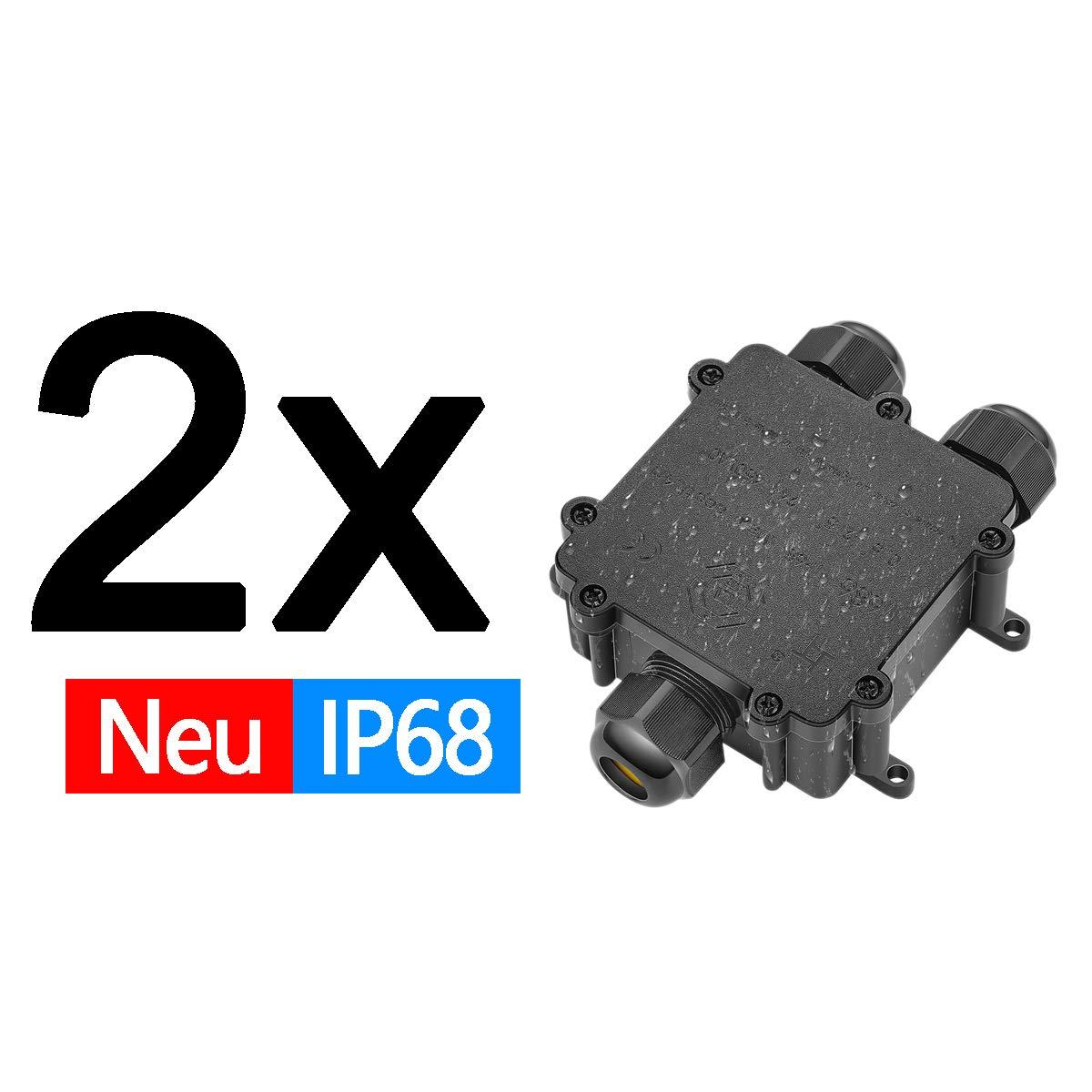 AllRight Abzweigdose IP68 3 Wege Verteilerdose Erdkabel Schwarz Elektrischer Au/ßenverteilerdose Wasserdicht Kabelmuffe /Ø 4mm-14mm