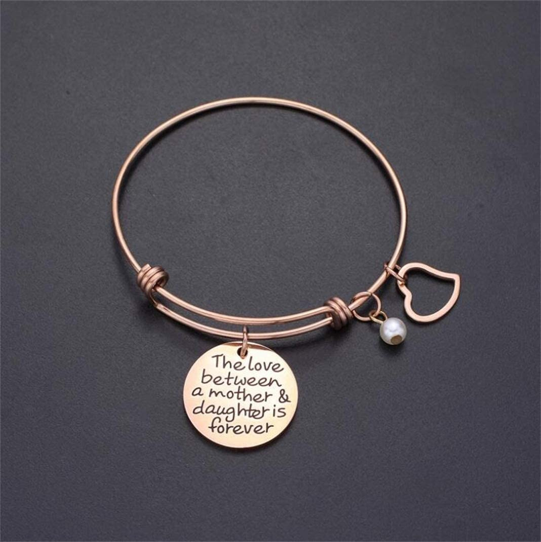 Multi-Color,E ruilinyang The Love Between Mother Daughter is Forever Heart Charm Bracelet Mom Expandable Bangle