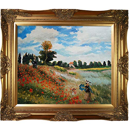 (Hand-Painted Reproduction of Claude Monet Poppy Field in Argenteuil Framed Oil Painting, 20 x 24)