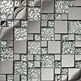 Silver glass brick stainless steel 3D kitchen backsplash mosaic tiles pack of 11,SA073-10